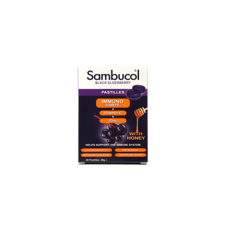 Sambucol Immunoforte sugtabletter, svart fläderbärsextrakt, vitamin C samt zink
