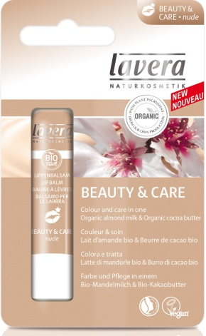 Lipbalm Beauty and Care Nude, ekologiskt läppbalsam, Lavera