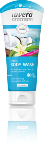 Exotic Body Wash med kokos och vanilj, 200 ml Lavera