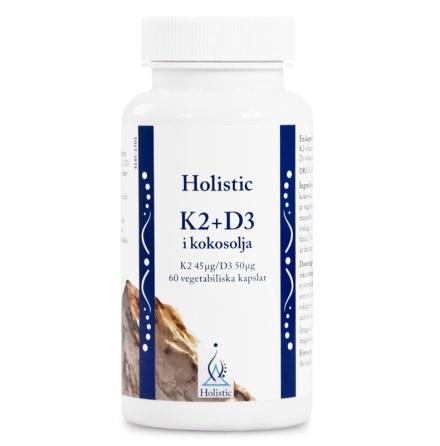 K2+D3-vitamin i kokosolja, kapslar från Holistic