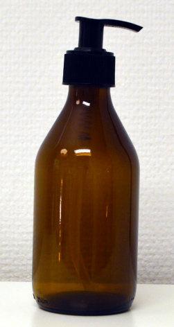 Glasflaska brun 250 ml med pumpinsats