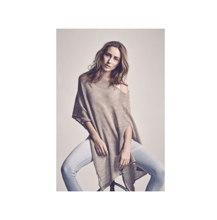 Poncho alpacaull, fairtrade, Brunbeige