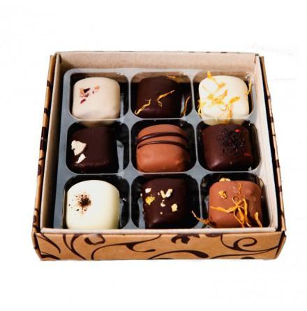 Temptations, 9 ekologiska chokladpraliner från Woodshade
