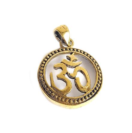 Ohm-tecken, runt hängsmycke av brons