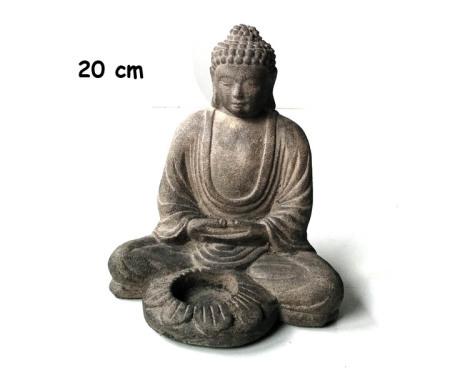 Buddhafigur ljushållare, 20 cm Grå