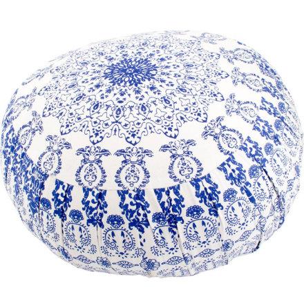 Meditationskudde mandala, vit och blå, med fyllning av kapok
