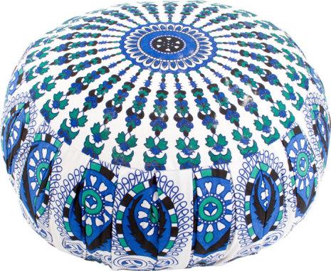 Meditationskudde, blå, vit och grön mandala med kapok-fyllning