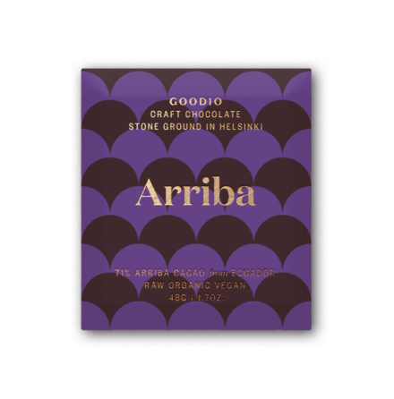 Raw choklad Arriba, 71% kakao, ekologisk och vegan