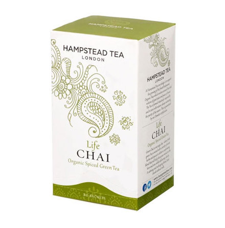 Life Chai, ekologiskt kryddigt grönt te, Hampstead Tea