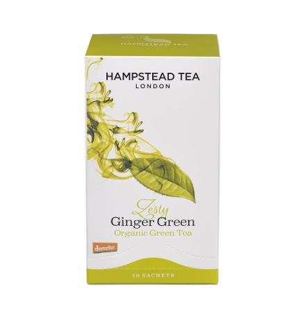 Zesty Ginger Green, ekologiskt grönt te från Hampstead Tea