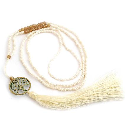 Halssmycke Tree of Life, brons och små pärlor