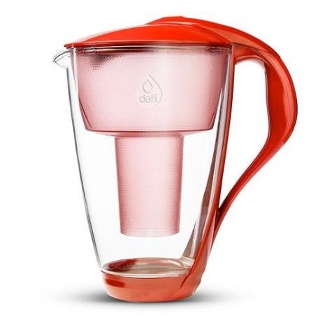Glaskanna Dafi röd, vattenreningskanna med kolfilter