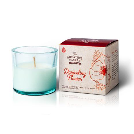 Återvunnet doftljus i glas, Darjeeling Flower, brinntid 20 tim