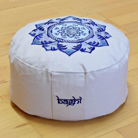 Meditationskudde Mandala ljusgrå, ekologisk bomull, fylld med boveteskal