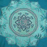 Meditationskudde Mandala petrol, ekologisk bomull, fylld med boveteskal