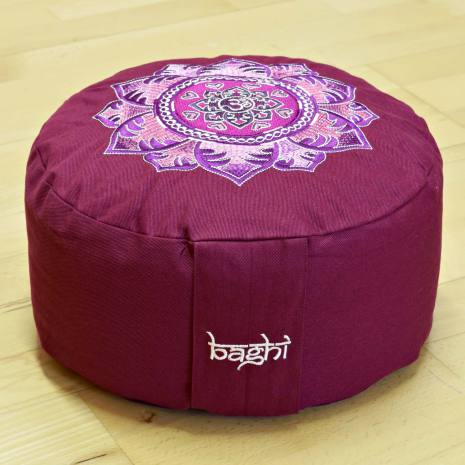 Meditationskudde Mandala, Bordeaux, ekologisk bomull, fyllning boveteskal