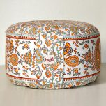 Meditationskudde mönstrad, Orange-turkos, ekologisk bomull, fylld med boveteskal