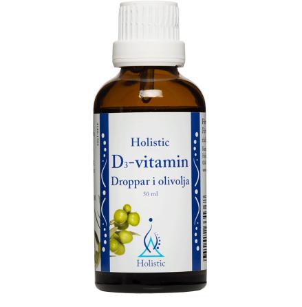 D3-vitamin i olivolja, droppar, Holsitic