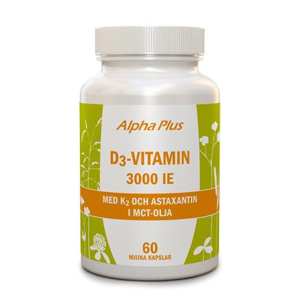 D3-vitamin 3000 ie + K2, 60 kapslar från Alpha Plus